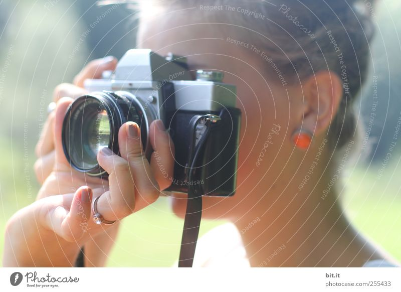 Für Dich soll ich bunte Bilder machen. Mensch Jugendliche Hand schön Erwachsene feminin Kopf Arbeit & Erwerbstätigkeit Fotografie Erfolg Finger lernen