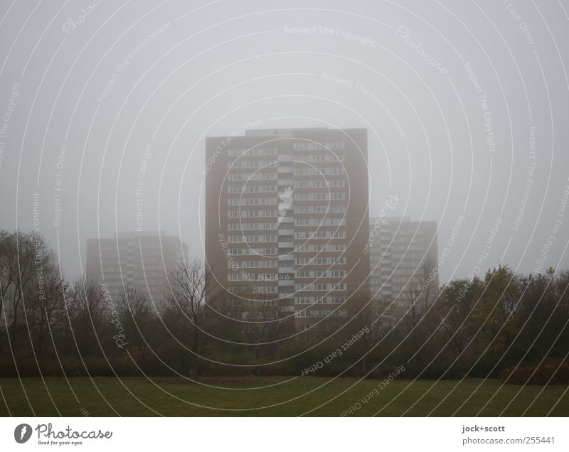 für dich solls bunte Bilder regnen (im Nebel) Himmel schlechtes Wetter Marzahn Stadtrand Wohnhochhaus Fassade authentisch hässlich trist grau Stimmung