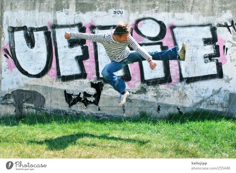 für dich soll´s bunte bilder regnen Lifestyle Mensch maskulin Mann Erwachsene 1 30-45 Jahre Graffiti springen Karate chinesische Kampfkunst Schatten treten