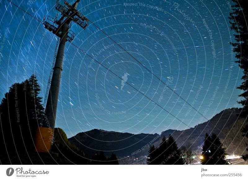 weiter aufwärts solls gehen! Himmel blau Winter ruhig Erholung Herbst Umwelt Freiheit Landschaft Berge u. Gebirge Bewegung Luft elegant wandern Stern stehen