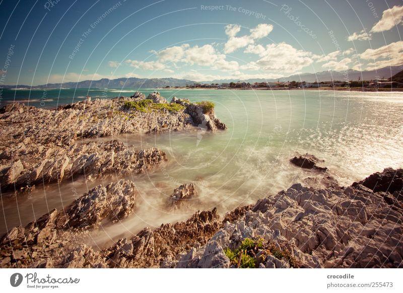 coast Umwelt Natur Landschaft Urelemente Wasser Himmel Wolken Schönes Wetter Felsen Wellen Küste Strand Bucht Meer Insel Neuseeland außergewöhnlich