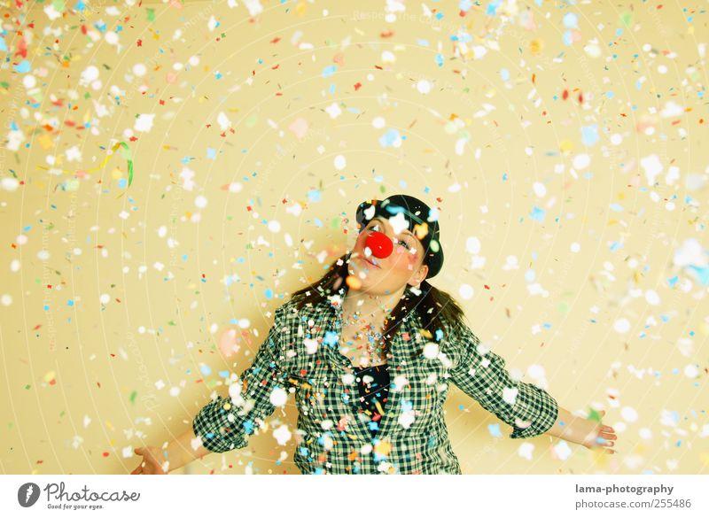 Für Dich solls buntes Konfetti regnen! Kind Jugendliche Freude Erwachsene lustig Feste & Feiern Geburtstag Nase Fröhlichkeit 18-30 Jahre Karneval 13-18 Jahre Junge Frau Clown Zirkus Konfetti