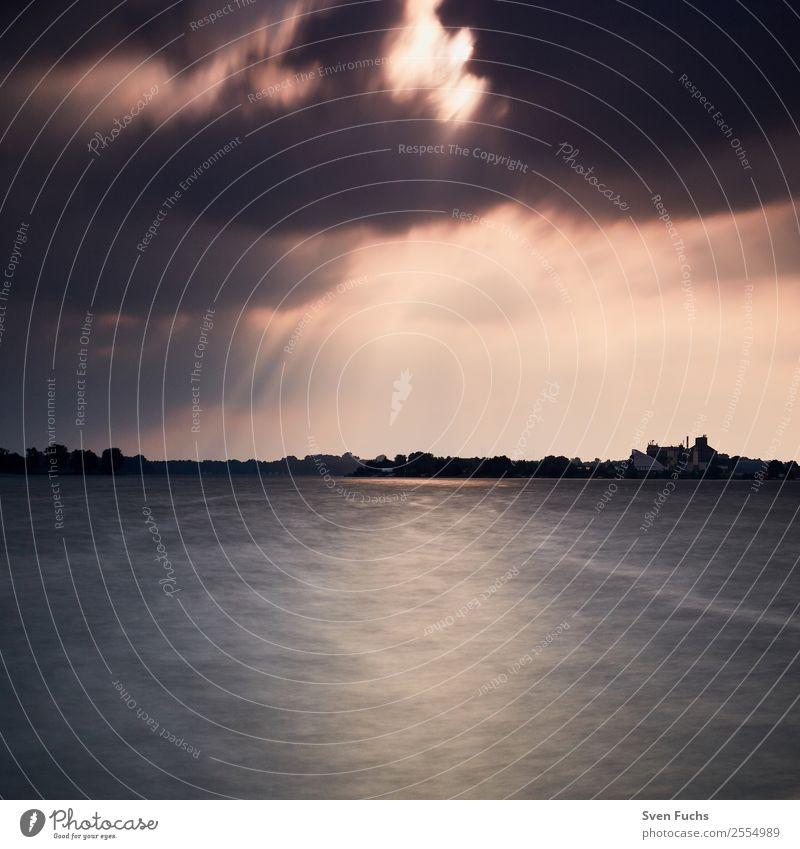 Abendstimmung Bantersee Wilhelmshaven Natur Sommer blau schön Wasser Landschaft Sonne Meer Wolken Strand schwarz Gefühle Bewegung See orange grau