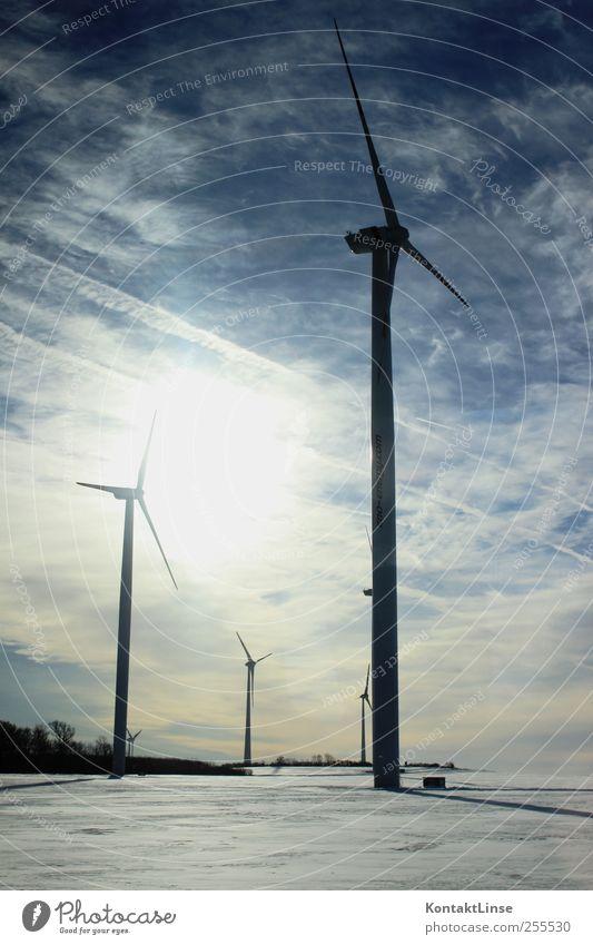 Windräder Himmel blau Sonne Winter kalt Schnee Landschaft träumen Wetter Eis Arbeit & Erwerbstätigkeit Energiewirtschaft lernen Klima Zukunft