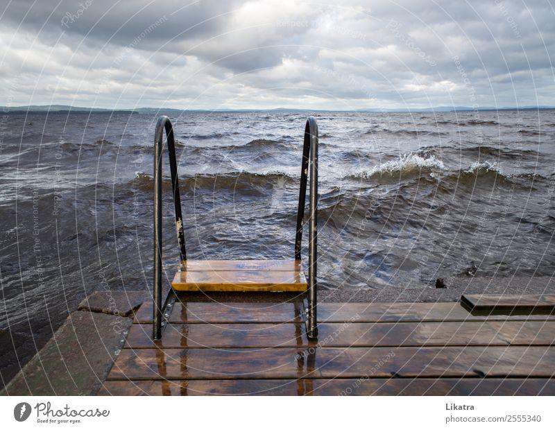 Sturm am Badeplatz Freiheit Sommer Sommerurlaub Wellen See Leiter Natur Wasser Wolken schlechtes Wetter Schweden Badestelle Steg bedrohlich gigantisch kalt wild