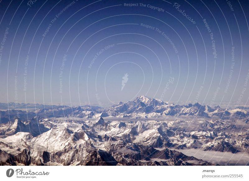 Vista Natur Ferien & Urlaub & Reisen Winter Ferne Umwelt Berge u. Gebirge Horizont Alpen Gipfel Umweltschutz Wolkenloser Himmel Schneebedeckte Gipfel