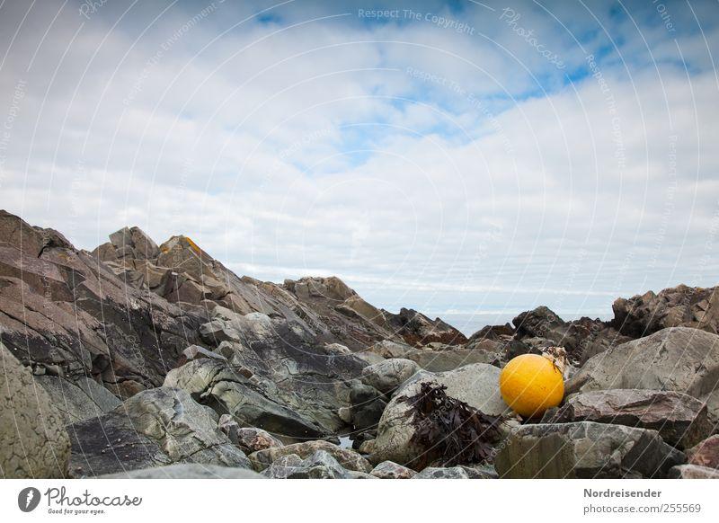 NR hat geschmückt Sinnesorgane ruhig Ferne Meer Landschaft Felsen Küste stagnierend Stimmung Schwimmer (Angeln) Fischereiwirtschaft Boje Strandgut maritim