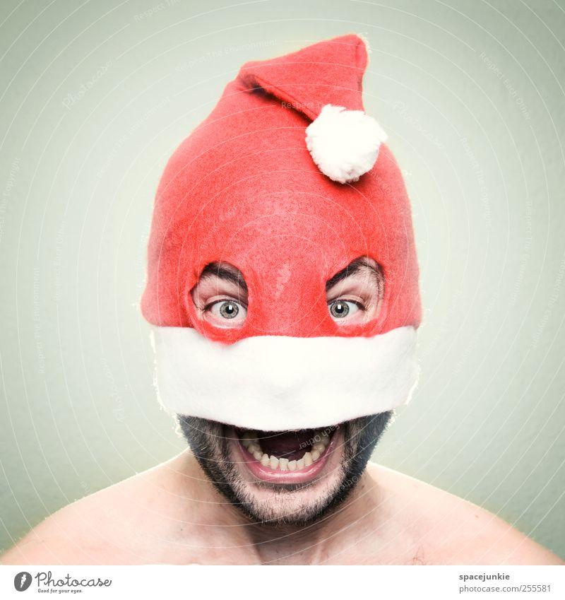 Merry Christmas! Mensch maskulin Mann Erwachsene Kopf 1 30-45 Jahre schreien gruselig verrückt rot weiß Überraschung Wut Freude Mütze skurril Bankräuber Auge