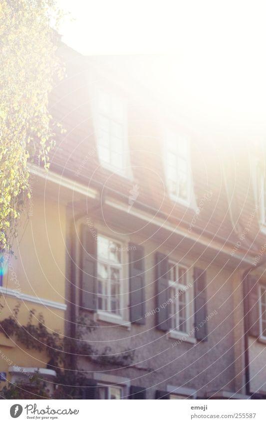 -Flut- Sonne Haus Einfamilienhaus Mauer Wand Fassade Fenster Farbfoto Außenaufnahme Menschenleer Morgen Licht Schatten Lichterscheinung Sonnenlicht