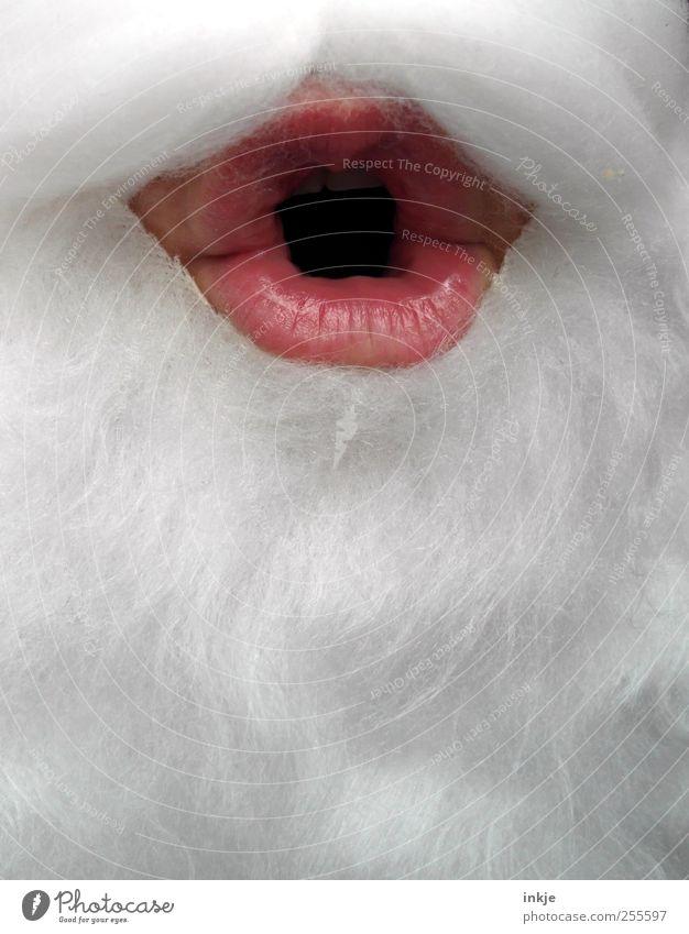 Oh Weihnachten & Advent Weihnachtsmann maskulin androgyn Erwachsene Senior Leben Mund Lippen 1 Mensch weißhaarig Bart Vollbart Kommunizieren machen