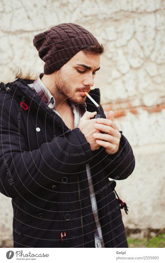 Mensch Mann schön weiß schwarz Gesicht Straße Lifestyle Erwachsene Stil Junge Mode modern Coolness Körperhaltung Beautyfotografie