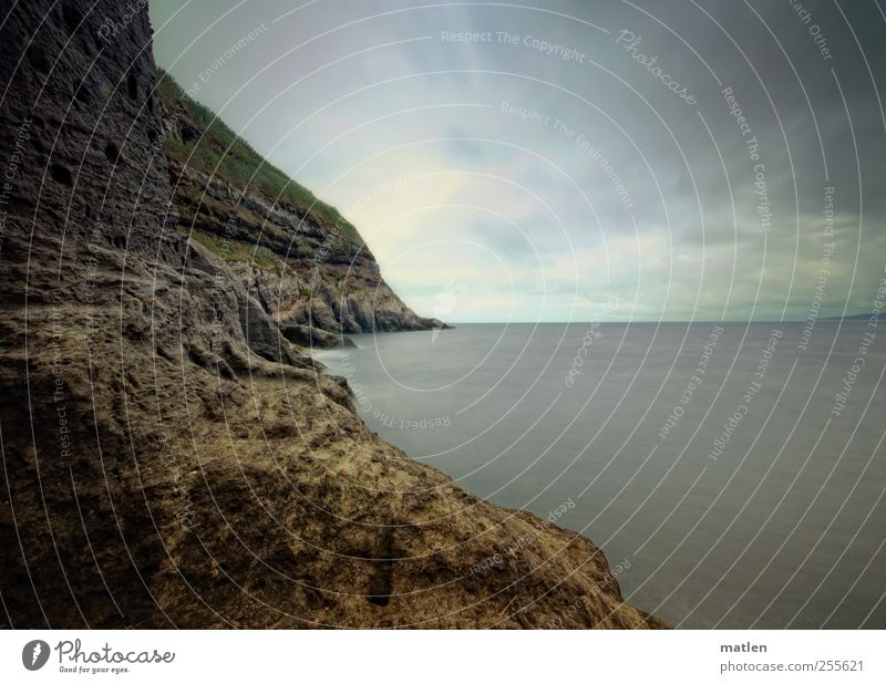 in Ewigkeit Wasser blau Meer Sommer ruhig dunkel Landschaft Wetter braun Horizont Erde authentisch bedrohlich Urelemente Moos schlechtes Wetter