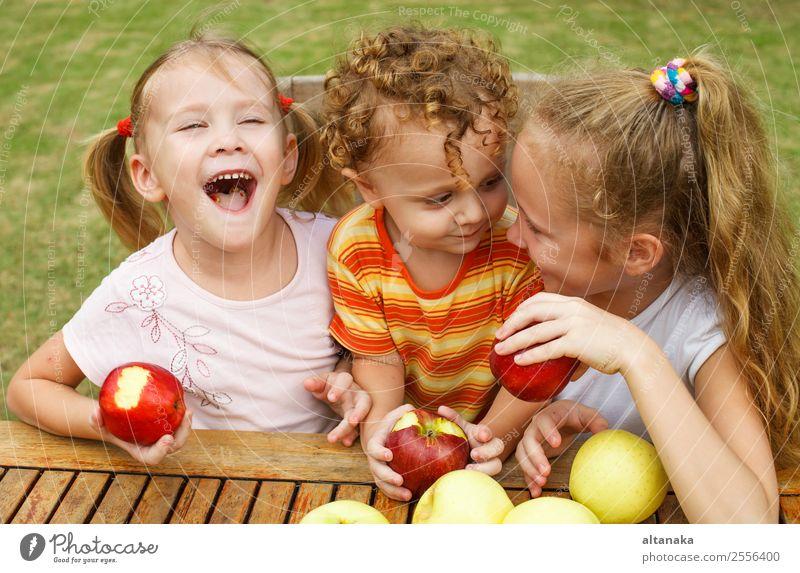 drei glückliche Kinder Frucht Apfel Ernährung Essen Diät Lifestyle Freude Glück schön Gesicht Sommer Garten Mensch Baby Junge Frau Erwachsene Kindheit Hand