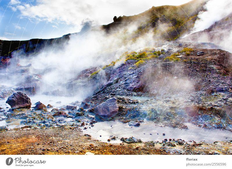 Quellen und Dampf auf Island Ferien & Urlaub & Reisen Tourismus Ausflug Abenteuer Ferne Freiheit wandern Umwelt Natur Landschaft Urelemente Erde Luft Wasser