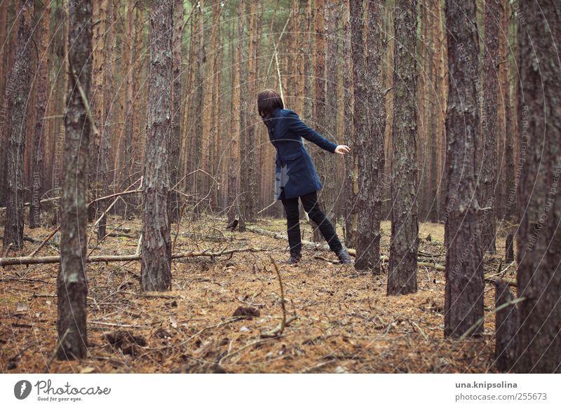 vom suchen und gefunden werden Mensch Frau Natur Jugendliche Baum Pflanze Erwachsene Wald Umwelt Bewegung laufen Junge Frau drehen brünett Mantel verirrt