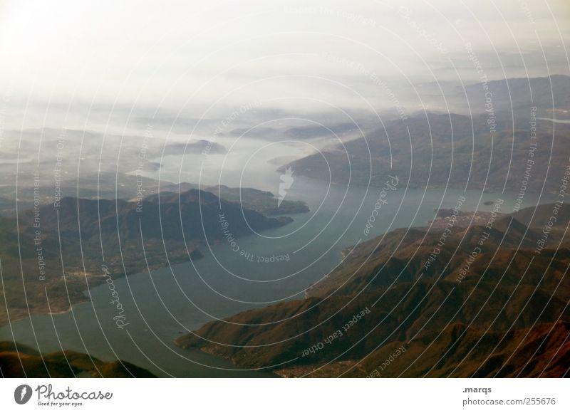 Im Fluss Himmel Natur Landschaft Umwelt Leben Gefühle Wege & Pfade Nebel Erde Perspektive Beginn Urelemente Ewigkeit Hügel Unendlichkeit