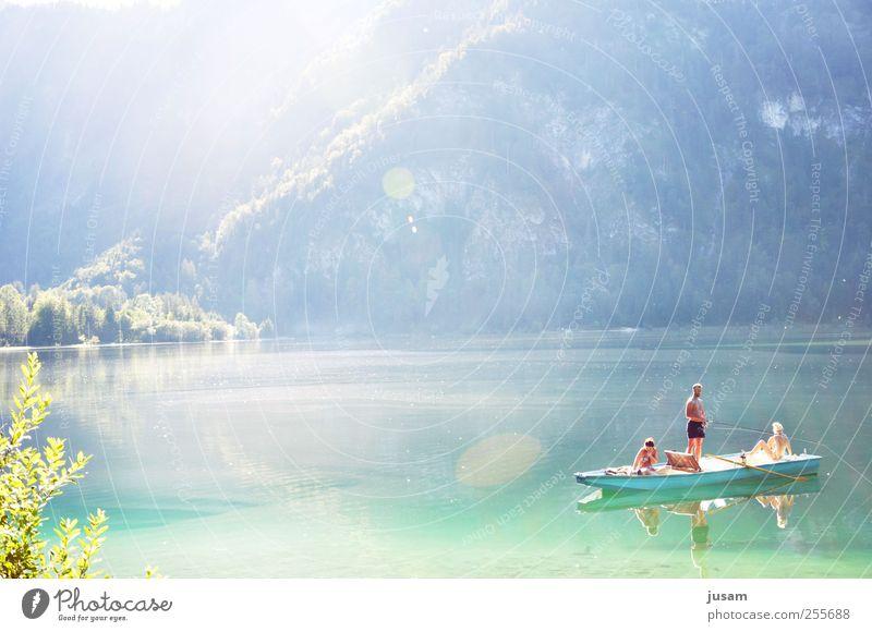 ein Sommer wie damals... Freude Freizeit & Hobby Angeln Ferien & Urlaub & Reisen Sonne Mensch maskulin 3 Natur Landschaft Wasser Schönes Wetter Wellen Seeufer