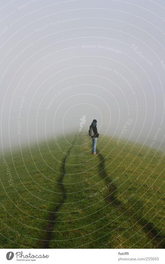 mädchen, nebel & deichweg 1 Mensch Natur Landschaft Herbst Winter Nebel Gras stehen Dunst Spuren grün Einsamkeit nachdenklich frei Deich Nebelwand