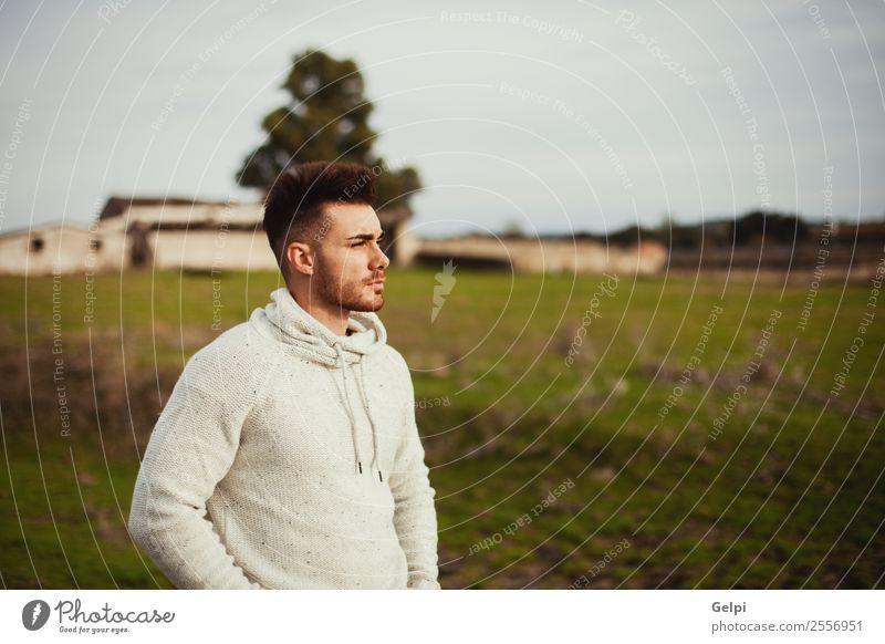 Attraktiver Kerl Lifestyle Stil Haus Mensch Junge Mann Erwachsene Landschaft Baum Gras Wiese Mode Vollbart Denken Coolness Erotik trendy modern stark Typ jung