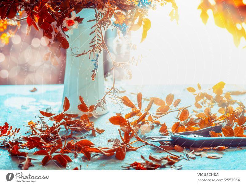 Herbst Laubblätter, Vase und Schere auf dem Tisch Pflanze Haus Blatt Lifestyle Hintergrundbild gelb Innenarchitektur Stil Garten Häusliches Leben Design Wohnung