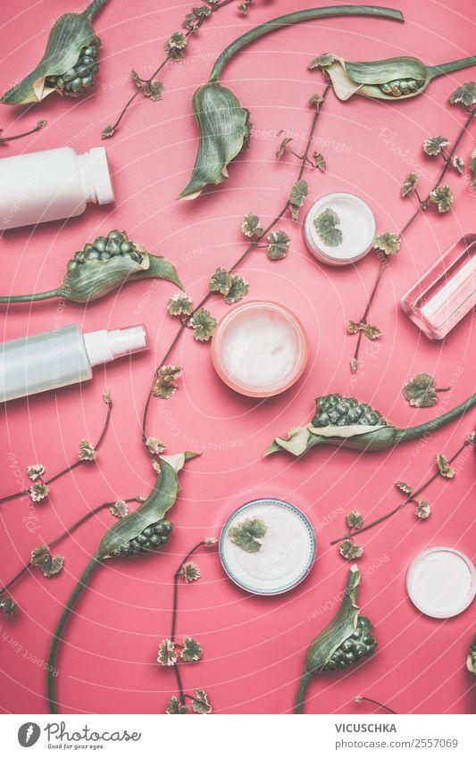 Verschiedene Kosmetik mit grünen Blumen Pflanze schön Blatt Gesundheit Blüte Stil rosa Design Dekoration & Verzierung kaufen Sammlung Creme Entwurf Ornament