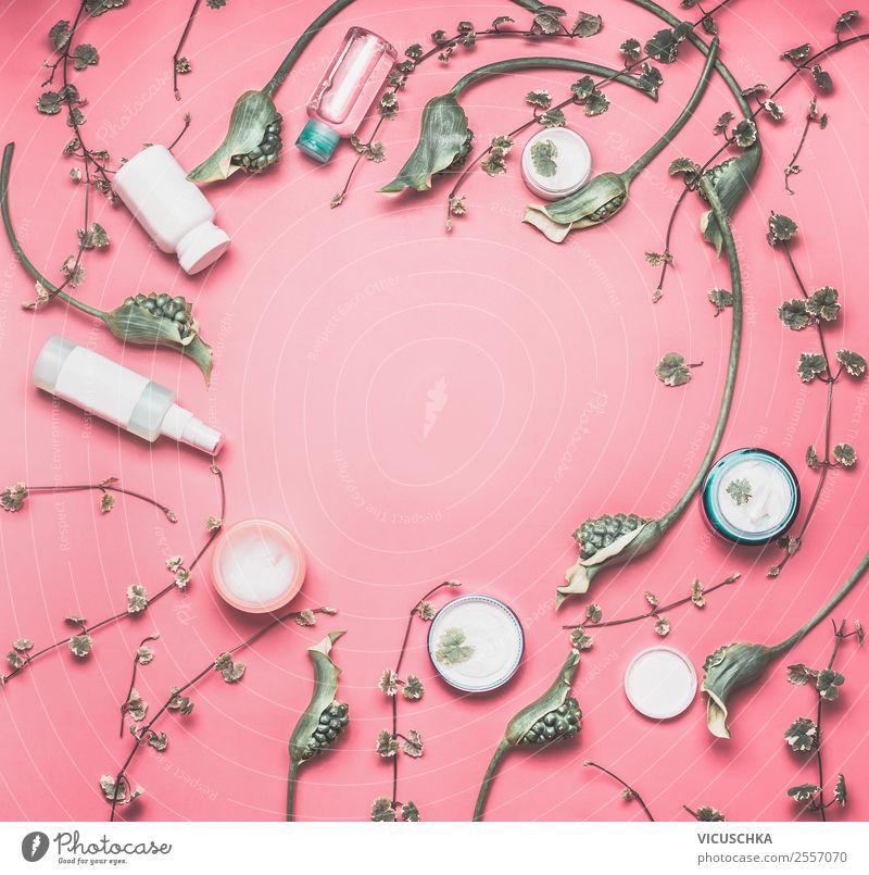 Kosmetik Produkten Zusammenstellung Natur Pflanze schön grün weiß Blume Gesundheit Lifestyle Hintergrundbild Stil Mode rosa Design Dekoration & Verzierung Haut