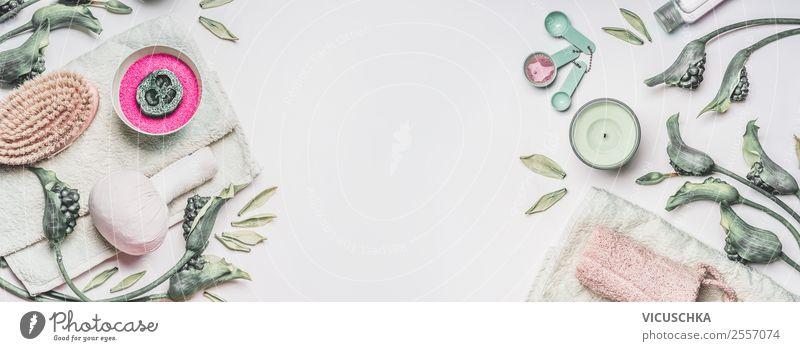Spa, Wellness, Massage oder Hautpflege Zubehör Rahmen schön grün weiß Gesundheit Lifestyle Hintergrundbild Stil Design Dekoration & Verzierung kaufen Kerze