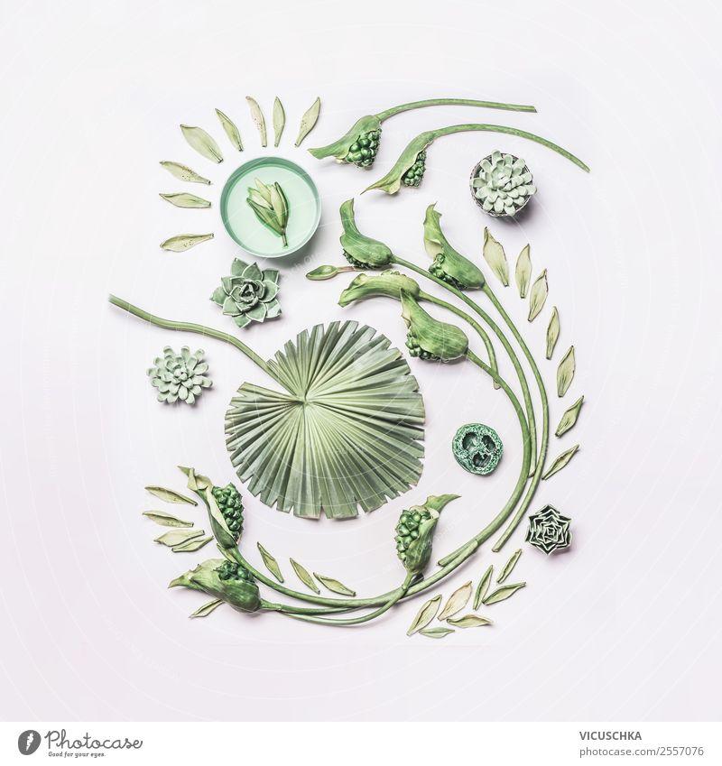 Composing mit grünen Pflanzen und Blumen Natur Blatt Gesundheit Hintergrundbild Blüte Stil Design Dekoration & Verzierung Wellness trendy Sammlung exotisch