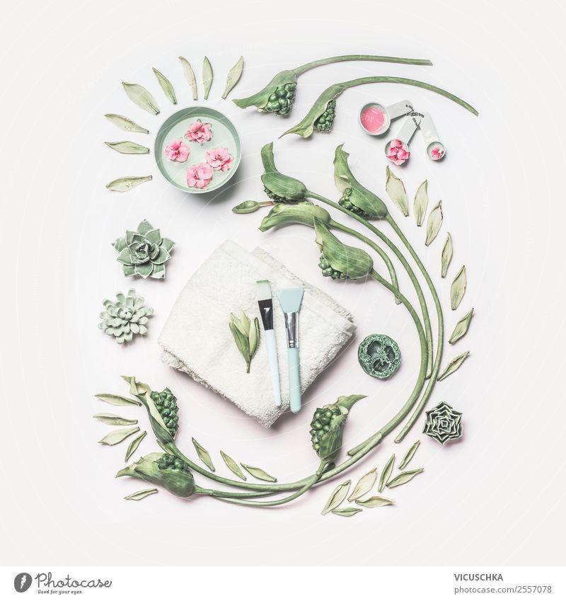 Hautpflege Zubehör mit Blumen schön Blatt Gesundheit Blüte Stil rosa Häusliches Leben Design Dekoration & Verzierung kaufen Reinigen Wellness Kosmetik Creme