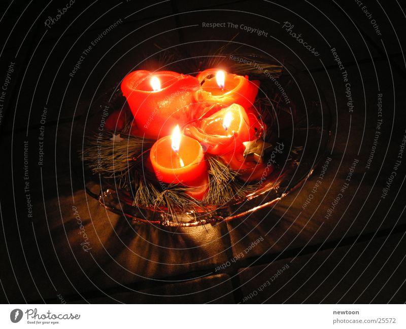 Adventskranz Kerze Licht gemütlich Makroaufnahme Nahaufnahme Weihnachten & Advent
