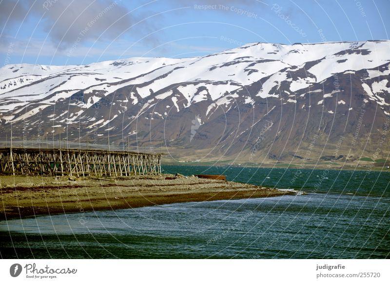 Island Umwelt Natur Landschaft Wasser Schönes Wetter Felsen Berge u. Gebirge Schneebedeckte Gipfel Fjord Fischerdorf fantastisch kalt natürlich