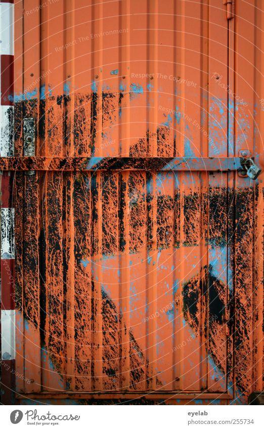 Orangenschale Mauer Wand Fassade Verkehr Straßenverkehr Verkehrszeichen Verkehrsschild Bauwagen Zeichen Ornament Schilder & Markierungen Graffiti alt dreckig