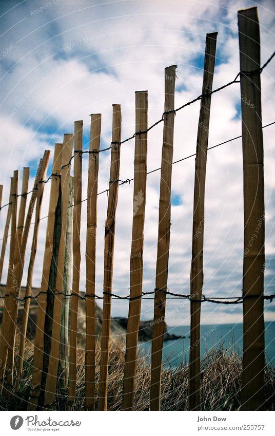 curiosity Ferne Freiheit Strand Meer Insel Wasser Himmel Wolken Gras Sträucher Sehnsucht Heimweh Fernweh Schüchternheit Ferien & Urlaub & Reisen England analog