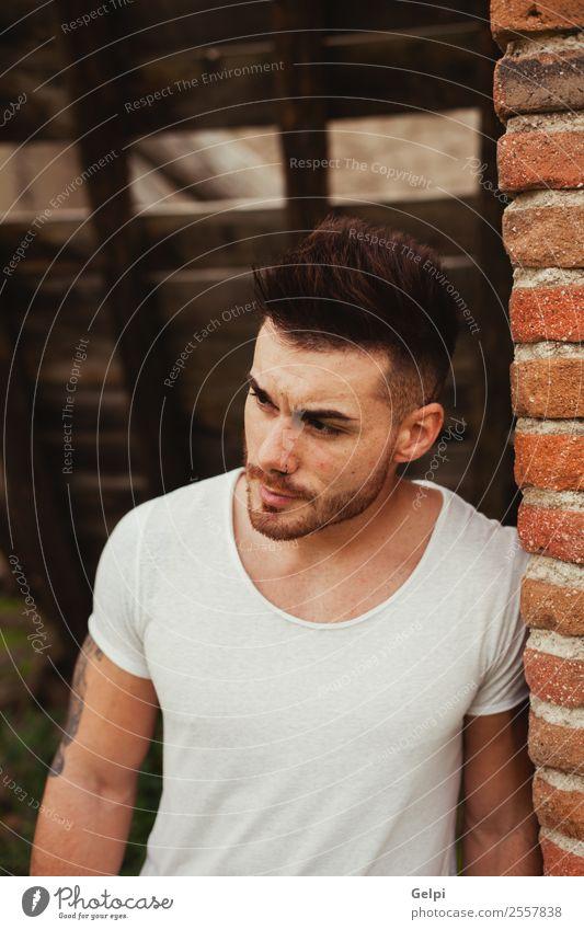 Attraktiver Kerl Lifestyle kaufen Design Körper maskulin Mann Erwachsene Straße Mode Bekleidung T-Shirt Hemd Tattoo Vollbart Coolness Erotik trendy nackt