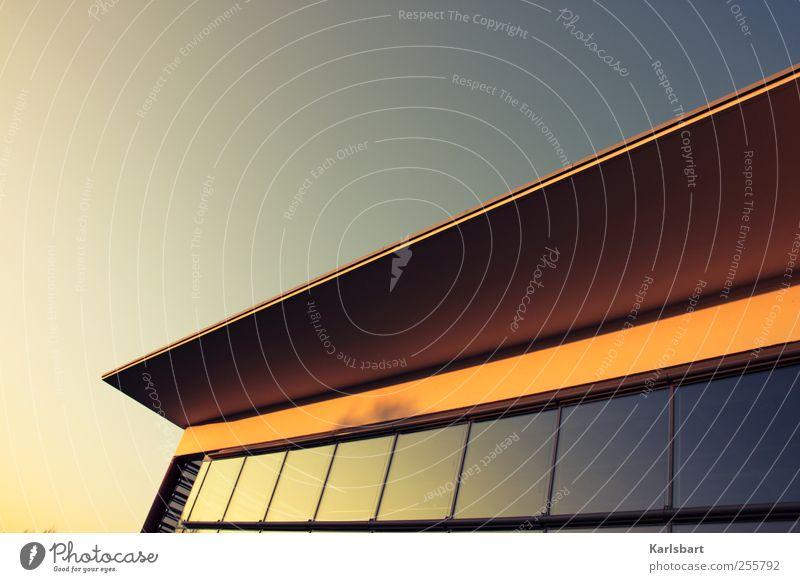 Der Adler verlor niemals soviel Zeit, ... Himmel Haus Fenster Wand Architektur Mauer Gebäude Linie Glas Fassade Design Erfolg Schulgebäude Dach Baustelle Kultur