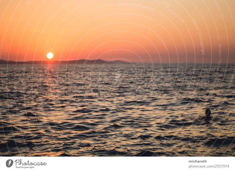 Den Sonnenuntergang genießen Lifestyle Wellness Leben Erholung Ferien & Urlaub & Reisen Tourismus Ausflug Abenteuer Ferne Freiheit Wellen Schwimmen & Baden Kopf