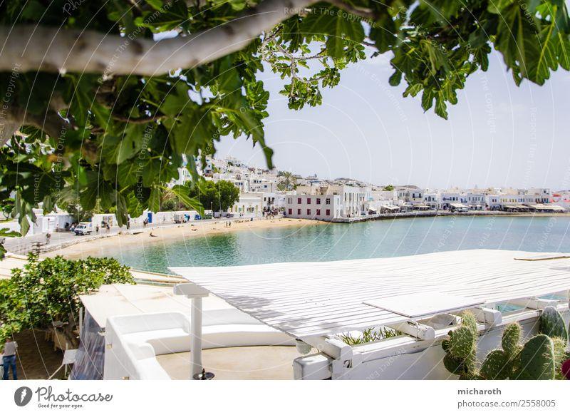 Mykonos Strand Himmel Ferien & Urlaub & Reisen Sommer blau grün Baum Meer Erholung Haus Lifestyle Wand Tourismus Mauer Fassade Ausflug
