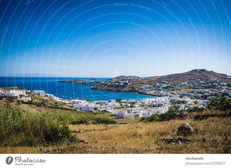 Mykonos Village Angeln Ferien & Urlaub & Reisen Tourismus Ausflug Abenteuer Ferne Freiheit Sightseeing Sommerurlaub Meer Landschaft Pflanze Wolkenloser Himmel