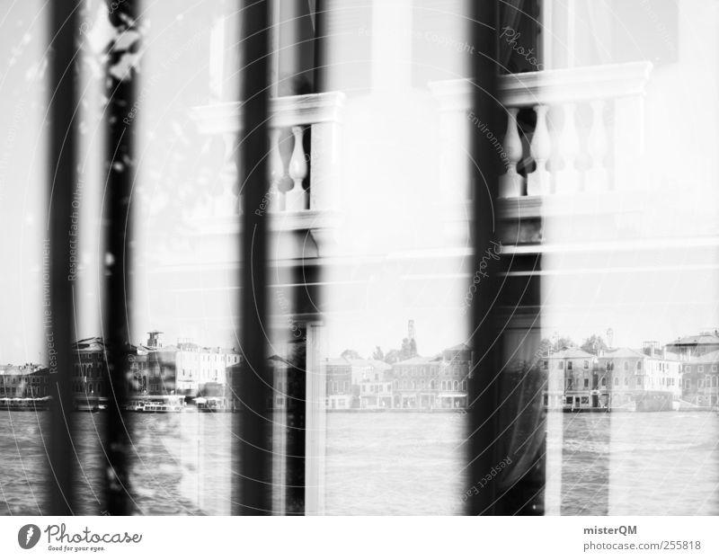 Black Reflection. ästhetisch Fenster Reflexion & Spiegelung Venedig Balkon Skyline Städtereise Perspektive schwarz Schwarzweißfoto Außenaufnahme Nahaufnahme
