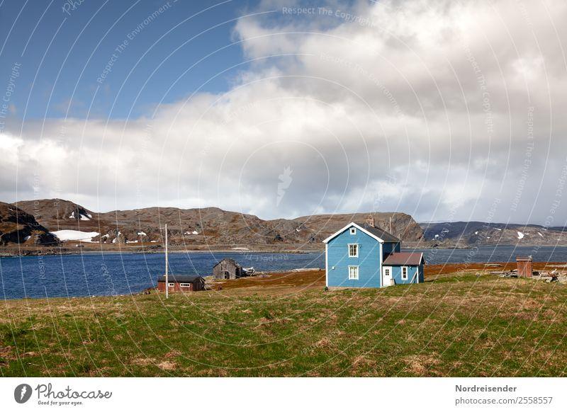 Leben am Eismeer Ferien & Urlaub & Reisen Natur Landschaft Wasser Himmel Wolken Klima Schönes Wetter Gras Wiese Felsen Berge u. Gebirge Küste Bucht Fjord Meer