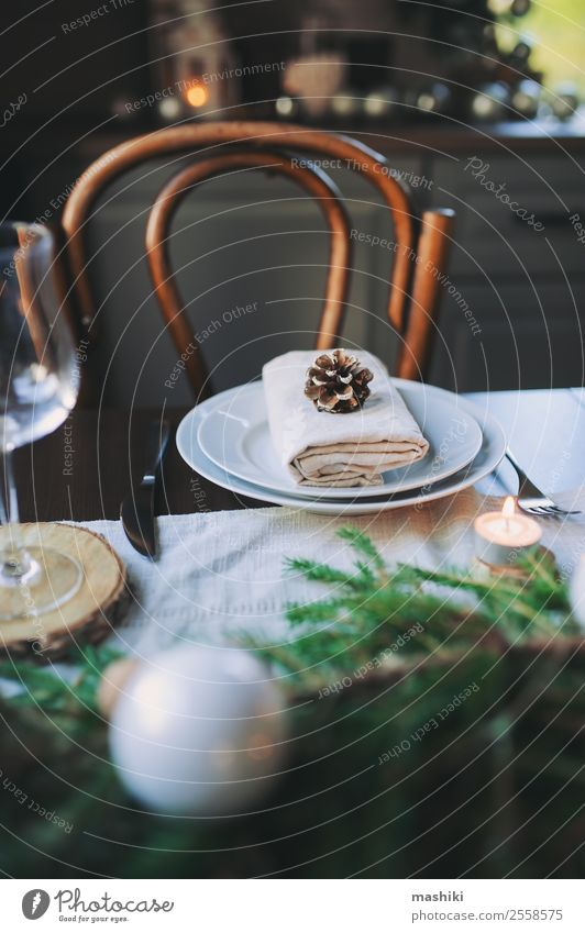 Festliche Weihnachts- und Neujahrs-Tischdekoration Abendessen Teller Winter Haus Dekoration & Verzierung Feste & Feiern Silvester u. Neujahr Kerze glänzend