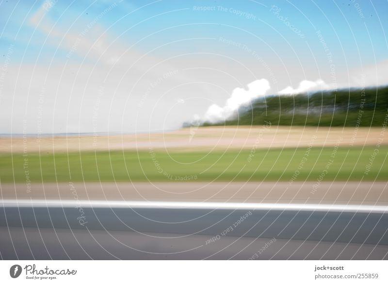 Quotient aus der Strecke (s) und der Zeit (t) Landschaft Wolken Schönes Wetter Feld Hügel Autofahren Autobahn Schilder & Markierungen Linie fantastisch