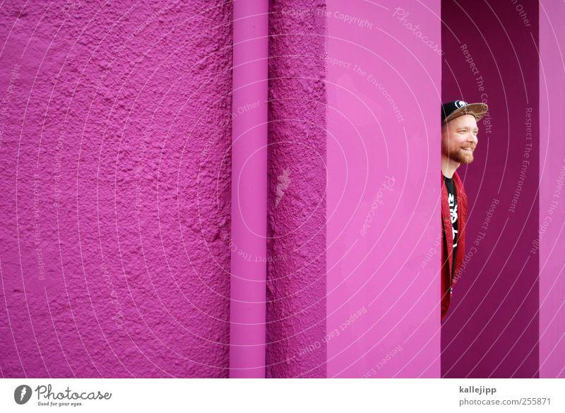 3. türchen Mensch maskulin Mann Erwachsene Kopf Bart 1 18-30 Jahre Jugendliche Tür Mode Mütze Lächeln lachen rosa Farbfoto mehrfarbig Außenaufnahme