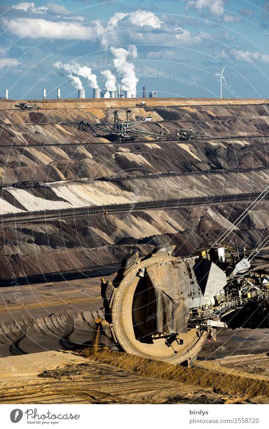 Klima vergiften Energiewirtschaft Kohlekraftwerk Erde Himmel Wolken Klimawandel Arbeit & Erwerbstätigkeit authentisch bedrohlich blau braun gelb grau Macht