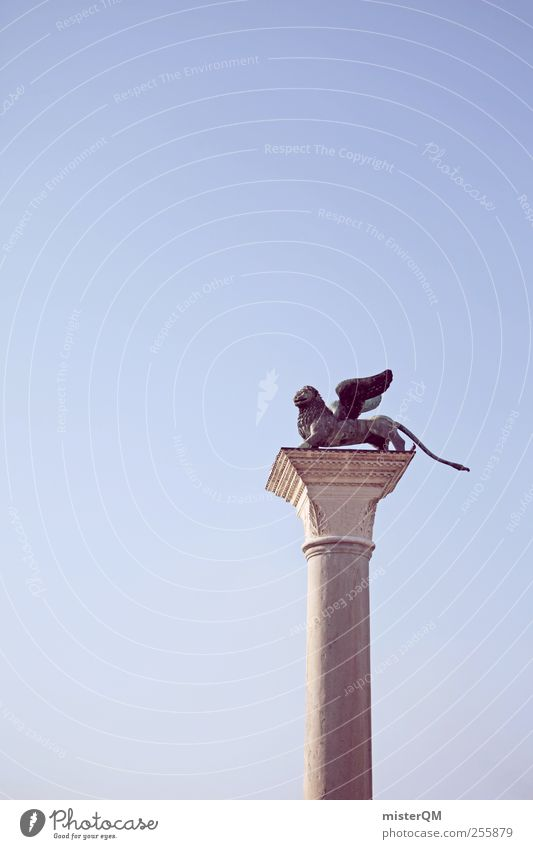flieg Löwe, flieg! Kunst ästhetisch Wappentier Venedig Flügel Säule Wahrzeichen Symbole & Metaphern Symbolismus San Marco Basilica Markusplatz Bauwerk Stein