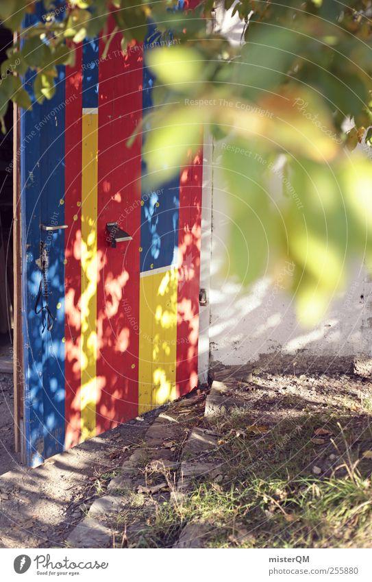 Lichterspiel. Sommer Spielen Kunst Tür Abenteuer ästhetisch außergewöhnlich Kreativität Bauernhof entdecken Kindergarten Lichtspiel gestalten abstrakt Eingangstür regenbogenfarben