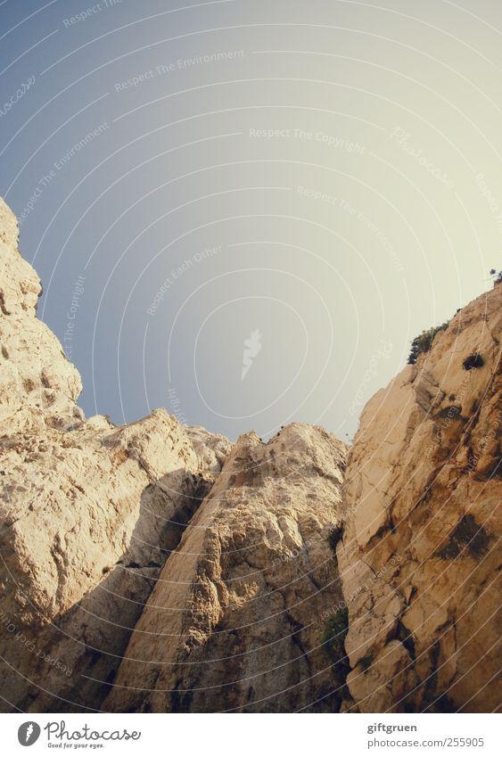 pure vernunft darf niemals siegen Umwelt Natur Urelemente Erde Himmel Wolkenloser Himmel Sonne Schönes Wetter Felsen Berge u. Gebirge authentisch Schlucht
