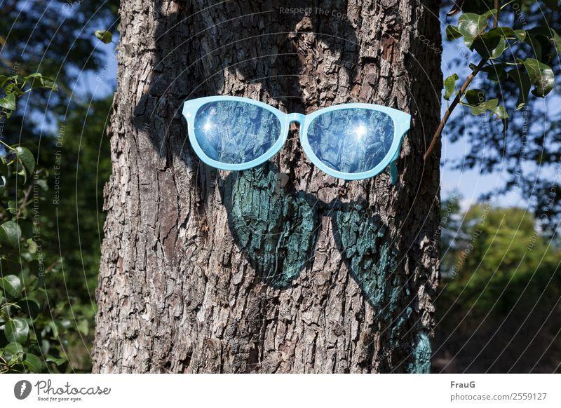 Emotion | so viel Sonne... Schönes Wetter Baum Brille Sonnenbrille Holz Kunststoff tragen außergewöhnlich hell trendy blau Coolness Freude Schatten Überraschung