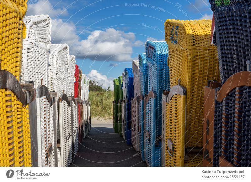 Ein wunderschöner Sommer am Strand geht to Ende Ferien & Urlaub & Reisen Tourismus Ausflug Abenteuer Sommerurlaub Sonnenbad Insel Stuhl Natur Gewitterwolken