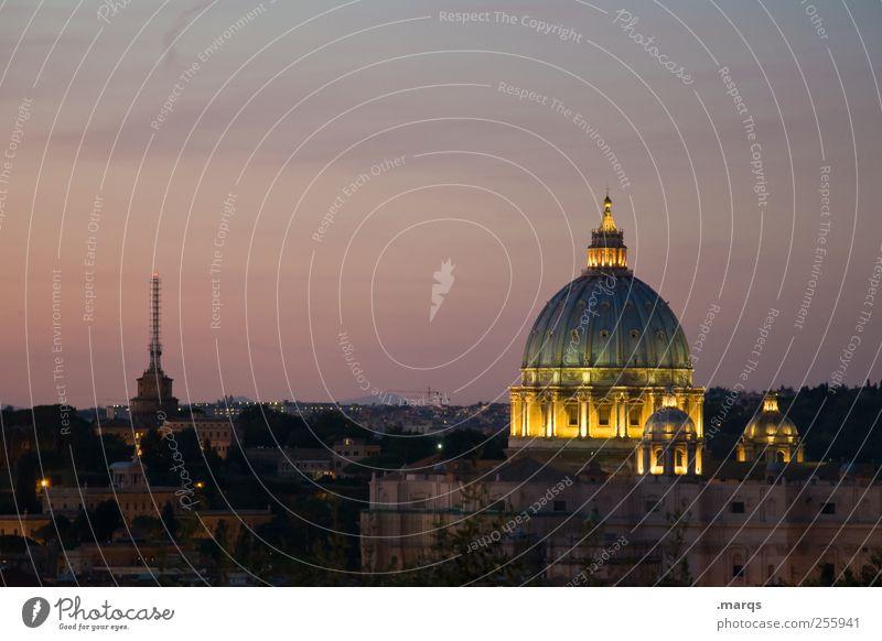 Dom Himmel Farbe dunkel Architektur Religion & Glaube leuchten Italien Bauwerk Stadtzentrum Hauptstadt Sightseeing Rom Dämmerung Ferien & Urlaub & Reisen